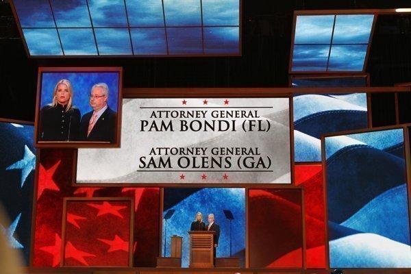 Florida Attorney General Pam Bondi and Georgia Attorney General Sam Olens address the Republican National Convention
