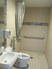 A private bathroom in a new NICU room for use of parents.