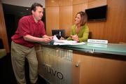 Inuvo's Craig Dillon, senior VP in analytics, speaks with Maria Salgado, executive assistant.