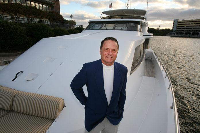 Carl Lindell on the 106-foot yacht Lucky III that he's selling. It is docked at Harbour Island.