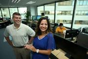 Steve Heckert, vice president of human resources for GFI Software and Hazel Cohen, corporate recruiter.