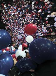 Balloons dropping at the Republican National Convention in Tampa Aug. 30