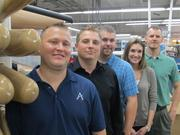 Tom Burroughs, plant/production manager for ALPS, Jason Wilkins, marketing O&P manager, Jeremy Baker, mechanical engineer, Nicole Kingan, operations manager, and Jake McClelland, mechanical engineering manager for ALPS