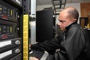 Mental Health Care Inc. Network Administrator Matt Haynes at work in the server room.