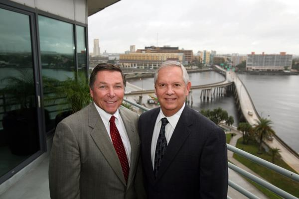 Ken Cherven, new Pinellas County president, and Bill West, Bank of Tampa president