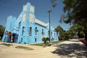 Paradise Missionary Baptist Church in Tampa with GTE headquarters at the end of the block.