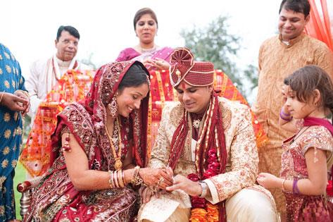 Bride and groom Poornima and Anand Tyagi in a traditional Indian wedding at the Palmetto Club at FishHawk Ranch in Lithia last fall.