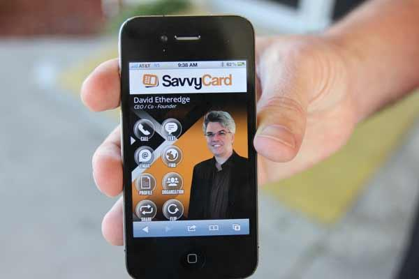 David Etheridge's SavvyPhone technology helps users pass on thrird party referrals at networking events.