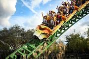 Visiting international tourists ride the Cheetah Hunt at Busch Gardens during free time from their Brazilian tour group.