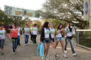A tour group of students from Minas, Brazil (tour company is called Green Tours) heading for the Rhino Rally ride at Busch Gardens.