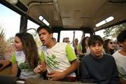 Isabel Leste, Neder Gader and Felipe Zebende on the Rhino Rally ride at Busch Gardens, looking for animals along the way.