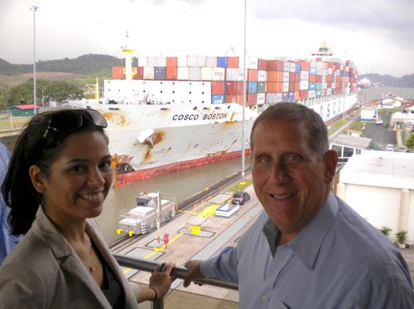 Tampa Hillsborough Economic Development Corp. Manager of International Trade & Investment Kathy Acevedo and President and CEO Keith Norden at the Panama Canal.