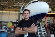 Bill Meehan, chief executive officer, with an Airbus 320.