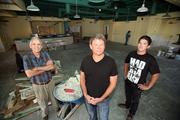 Partners  Dennis Bender, Jon La Budde and Kenny Bender in the space that will be Jonny Reno's restaurant, now being built out.