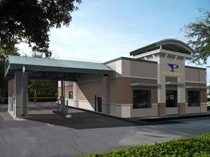 A rendering shows the new Pilot Bank branch design.