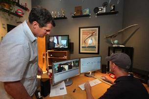 At Spectrum Productions/Mindclay, Guy Nickerson, president and executive producer, works with Erik Hardesty, editor and director of photography, in the edit suite. This space could be rented during the RNC.