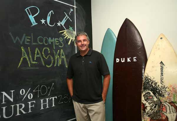 Patrick Brophy, general manager of Postcard Inn on the Beach in St. Pete Beach, in the lobby.