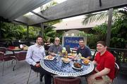 Joe Orsino, CEO of Ceviche, Arnold Rubin, CFO of Ceviche, Manny Rubin and Aaron Hershman, patrons, eating on the patio with the newly installed retractable cover at Ceviche Tampa.