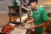 Josbany Rodriguez, production, making empanadas at Mr. Empanada.