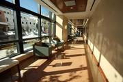 Walkway from emergency center to main hospital at St. Anthony's new Emergency Center and Patient Care Tower.
