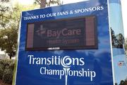 A sponsor board at Innisbrook's Copperheads golf course where the Transitions Golf Championship will take place.