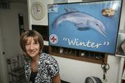 Travelodge Clearwater Beach displays a poster of Winter, the dolphin from Clearwater Marine Aquarium. Kathy Mittler is the general manager.