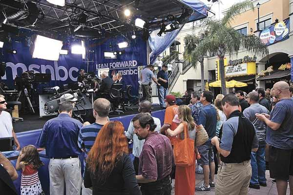 "MSNBC took over the courtyard at Channelside Bay Plaza as well as Howl at the Moon nightclub in the plaza. ""Hardball"" was shot live in the courtyard, while ""Morning Joe"" was broadcast live in the club."