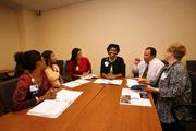 H.Lee Moffitt Cancer Center & Research Institute diversity meeting. Erika Harris, external relations liason, Lesley Harris, research program associate, Suzette Torres, research program associate, Cathy Grant, director of Moffitt diversity, Roberto Ramos, diversity inclusion specialist and Daryl Geiger, public relations specialist.