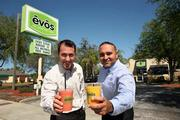 Evos restaurant in St. Petersburg. Michael Jeffers and Alkis Crassas, co-founders, with smoothies.