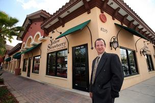 David Neff, real estate salesman with JSS Realty Corp., at San Marco Plaza in Lakewood Ranch where he placed several tenants in retail and restaurant spaces.