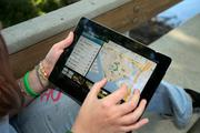 Eckerd College. Student, Ashley Porterfield, East Asian Studies, uses the college's new virtual tour app on her iPad.