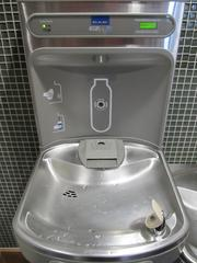 This water fountain tracks the number of disposable plastic bottles its system helped elimate. The Donald R. Tapia School of Business at St. Leo University has applied for LEED certification from the U.S. Green Building Council.