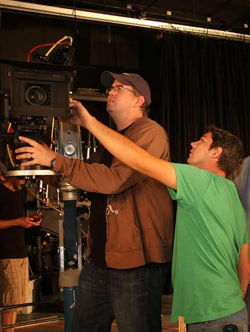 Rob Fallon, vice president and director of photography at Bluewater Media, goes over the commercial shooting angles with Nolan Heasley, director of photography.