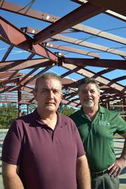 Bob Marquardt, vice president at Energy Efficient Solutions, and Tom Szikszay, president of parent company IC Mechanical on site during construction of a 30,000-square-foot building in Oldsmar.