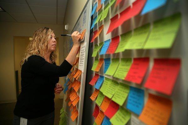 Kobie Marketing's Jenn Lingerfelt, director of marketing, working on the website planning board.