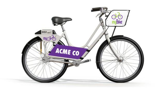 A smart bike with an advertisement