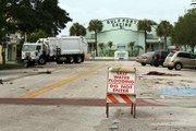 Debris along the road toward the Gulfport Casino