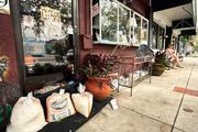 Domain Home Accessories in Gulfport tried to stop the flooding with sand bags.