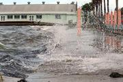 Here are waves off the bay breaking onto the street near the Gulfport Casino.