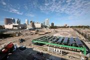 Solar panels being installed at the Encore consruction site in Tampa.