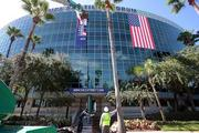 Tampa Bay Times Forum prepares with banners for the Republican National Convention.