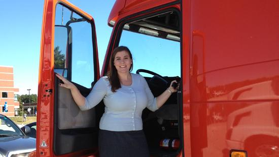 Reporter Catherine Carlock stepped into an 18-wheeler for the first time as Volvo Trucks unveiled its recent expansion and announced plans for another $2.5 million investment.
