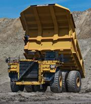 A view of the front of the Caterpillar 797F, one of the largest haul trucks produced by the heavy equipment maker. The axles and front wheels for the truck will be built at Caterpillar's new plant in Winston-Salem.