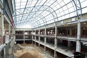 This photo taken in March offers a look inside the 10,000-square-foot atrium under construction at Wake Forest Biotech Place that is being built as a social space for scientists to collaborate and interact.