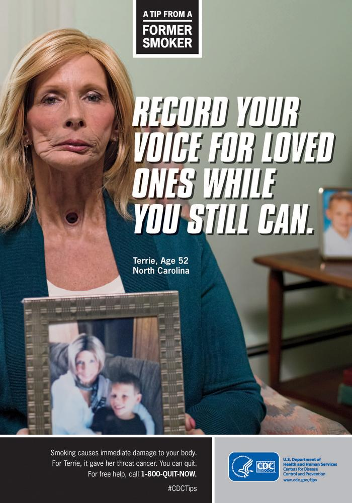 The CDC's campaign features Terrie Hall of Lexington, who lost her voice box to cancer.