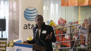 AT&T North Carolina president Cynthia Marshall speaking at the company's Greensboro call center last year.