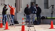 News crews set up shop at the federal courthouse in downtown Greensboro for the trial of former Sen. John Edwards.