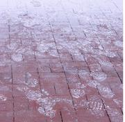 The flour-coated footprints of competitors in the 7 Campus Scramble, held April 21 at Center City Park in Greensboro.