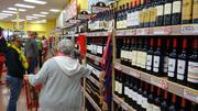 Many shoppers made for the store's extensive wine and beer selection.