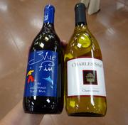 """My personal purchase -- one """"Two Buck Chuck"""" chardonnay and a bottle of pinor noir -- rang up to a grand total of $7.45. Cheers!"""